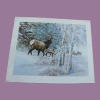 Mid Century Print of Bull & Cow Elk In The Snow - Tom Beecham