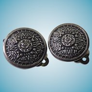 Cute as a Button!  Mexican Sterling Silver Aztec Calendar Earrings Signed TS-1?3
