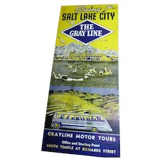 The Grayline Seeing Salt Lake City Bus Tour Brochure Circa 1940 Map & Details