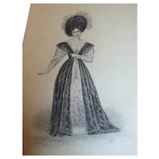 Etching of British Actress Fanny Kemble As Belvidera After Work by B Cruickshank