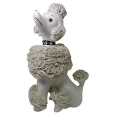 Vintage Spaghetti Poodle - Haughty French Poodle With Rhinestone Collar & Upturned Nose