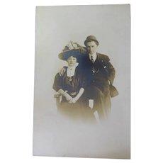 Vintage AZO Antique RPPC Postcard - Victorian Era Fashion Fancy Dress Hats & Jewelry
