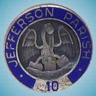 Unusual Vintage Sterling Silver Pin With Blue Enamel - Jefferson Parish 10 Year Pin With Stork & Shovels