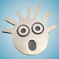 Unusual British Sterling Silver Signed TS Punk Head Brooch Surprised Expression Spiked Hair