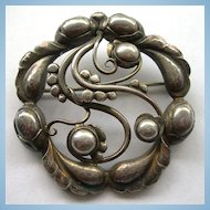 Beautiful Georg Jensen Moonlight Blossom Brooch In All Sterling Silver - #159 - Denmark