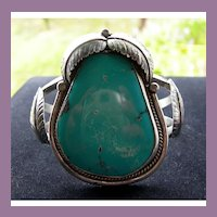 Navajo Silver and Turquoise Cuff Statement Bracelet with Leaves