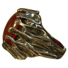 Sterling Silver & Carnelian Glass Brutalist Ring - Freeform Split Shank Setting