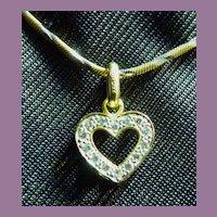 18K Gold Diamond Heart Pendant On Two Color  UNO A ERRE 14K Gold Chain