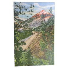 Vintage Linen Finish Postcard of Red Mountain at Berthoud Pass in Colorado