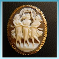 Beautiful 14K Gold Victorian Era 3 Graces Cameo - Artist Signed and Also Marked ACCO on the pin