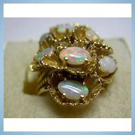 Beautiful 14K Gold & Colorful Opal Ring - Size 5