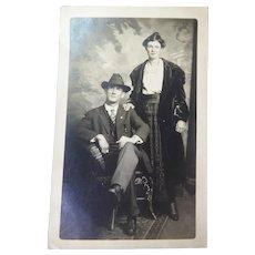 Antique RPPC Artura Postcard Couple Dressed In Victorian Era Fashion