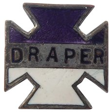 Antique Enamel Draper Pin Knights Templar Maltese Cross Purple & White Enamel