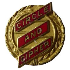 Rare Vintage Enamel Circle and Cipher Pin - Golden with Red Enamel
