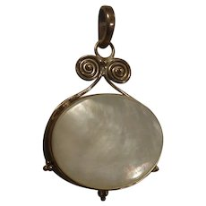 Sterling Silver & MOP Shell Tribal Pendant Marked 925