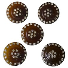 5 Pretty & Sparkly Rhinestone Toffee Color Buttons - 30.5mm across