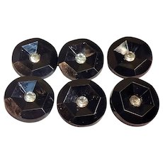6 Vintage Hard Plastic Rhinestone Topped Black Buttons - 28mm