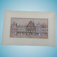 Signed Irene Fisher Painting Of A Row Of Houses - Listed Chicago Artist