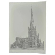 Vintage Print of St. Mary Redcliffe Church in Bristol Signed Griffin '78 Printed by Cameo Press