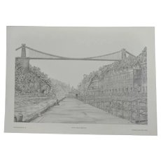 Vintage Print of Avon Gorge in Bristol Signed Griffin '78 Printed by Cameo Press