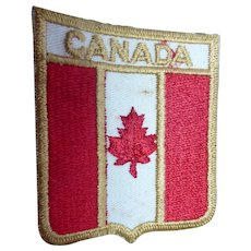 Vintage Canada Flag Shield Shape Woven Travel Souvenir Patch With Maple Leaf
