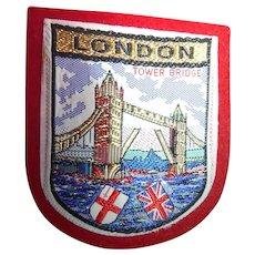 Vintage London England Travel Souvenir Patch With Tower Bridge & Union Jack