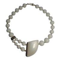 Trifari Modernist necklace white lucite bead MOP lucite