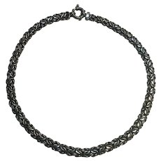 Sterling silver Byzantine link chain necklace Italy