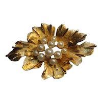 Trifari flower plant pin simulated pearls