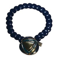 Trifari Mod enamel pendant necklace lucite disk beads