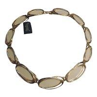 Trifari cream colored enamel choker necklace in a Modern design
