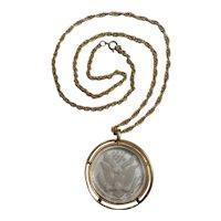 Trifari American eagle glass intaglio pendant necklace
