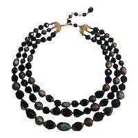 Trifari three strand glass bead necklace iridescent and black