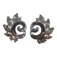 Trifari rhinestone swirl clip earrings silver tone
