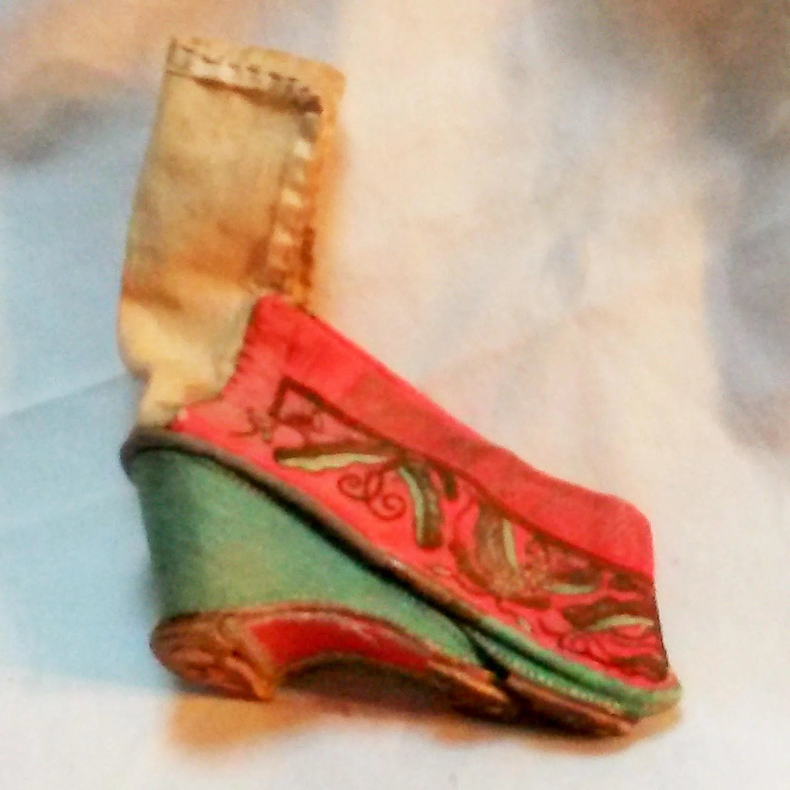 Antique Chinese Lotus Foot Binding Shoes Embroidered Butterflies