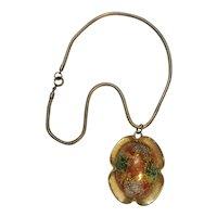 Judy Lee stippled egg pendant necklace orange green