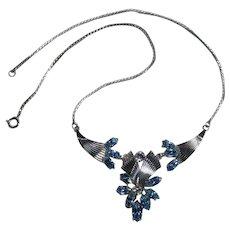 Van Dell sterling silver blue rhinestone choker necklace
