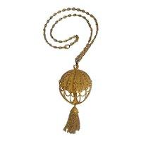 Trifari hot air balloon pendant necklace metal chain tassel