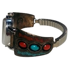Southwest sterling silver turquoise coral watch band tips signed