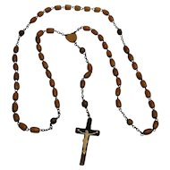Irish carved horn rosary celluloid corpus , heart center medal
