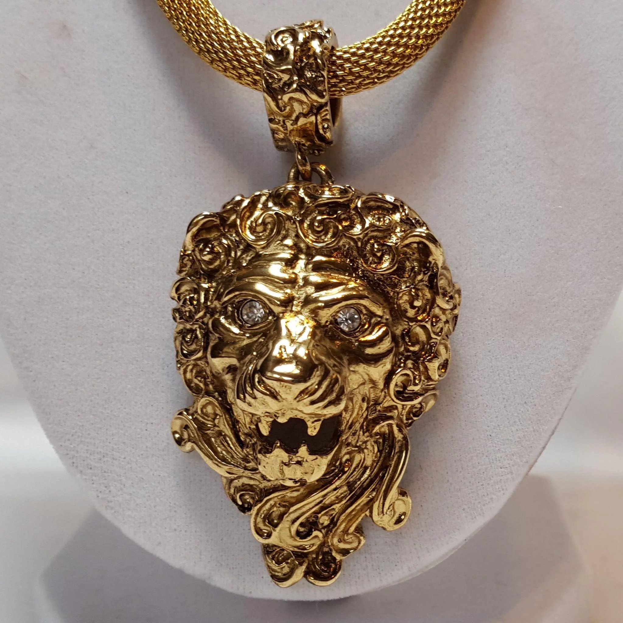 out men com amazon chain black iced cuban necklace tone s gold face lion dp pendant