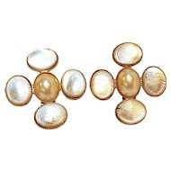 Poggi Paris silver foil glass cabochon clip earrings simulated pearl