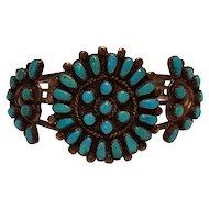 Leonard Lulu Weebothee Zuni silver turquoise cluster petit point cuff bracelet 1950's