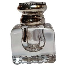 Gorham sterling silver  cut base crystal inkwell