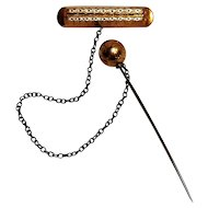 Antique rolled gold  pin with chain and ball stick pin safety