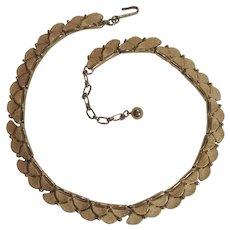 Trifari gold tone choker necklace scalloped edge