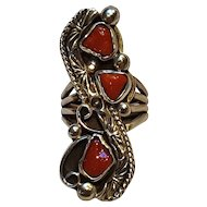 Paul Stover Navajo sterling silver red coral ring