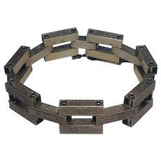Sterling silver rectangular link engraved tank track tread bracelet