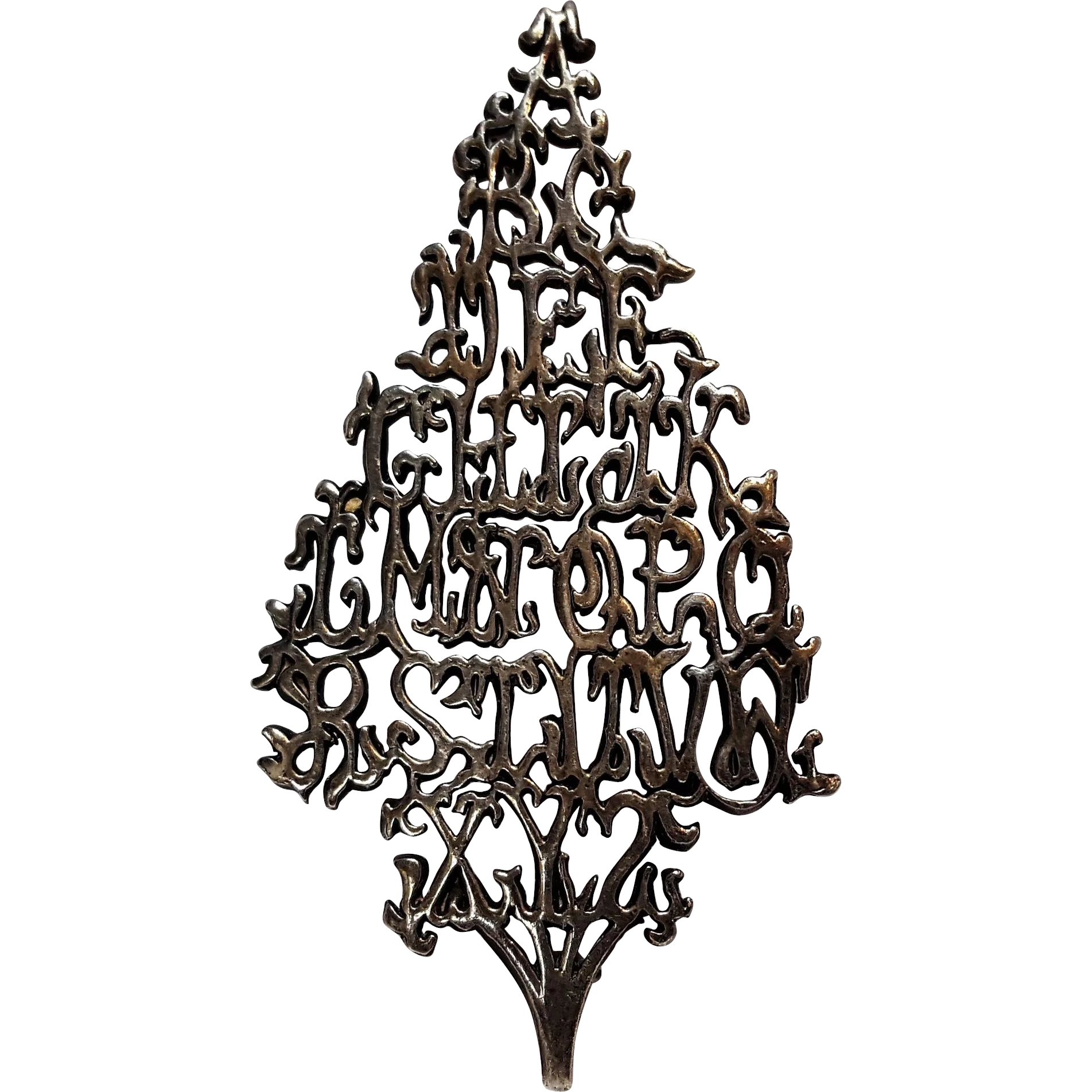 Wonderful Alphabet Sterling Silver Christmas Tree Pin : Green Mannequin | Ruby Lane