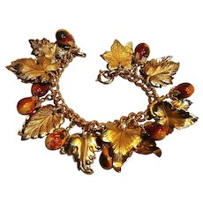 Napier charm bracelet golden leaves ceramic acorns